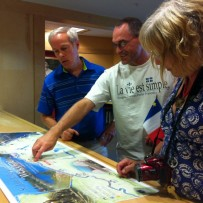 Teachers looking at a map