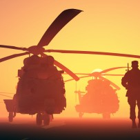 Soldier with helicopters