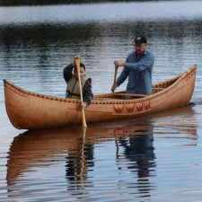 Donald Soctomah Donald Soctomah rows a birch bark canoe with his son, also named Donald. The canoe was built based on a 21-foot Passamaquoddy canoe dating from 1850.