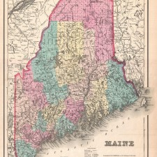 1857 Colton Map of Maine