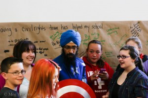 Sikh Captain America with students at the Civil Rights Team conference